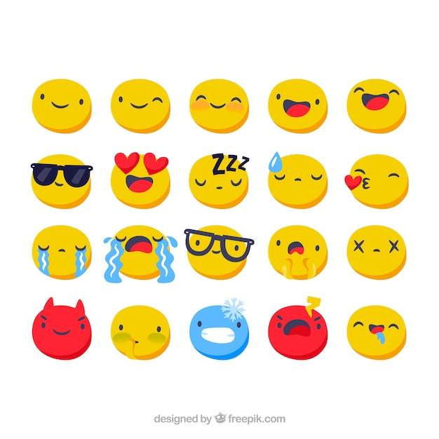 Set of facebook emoticons in flat style Free Vector