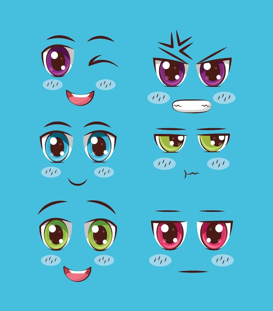 Set of faces anime Free Vector