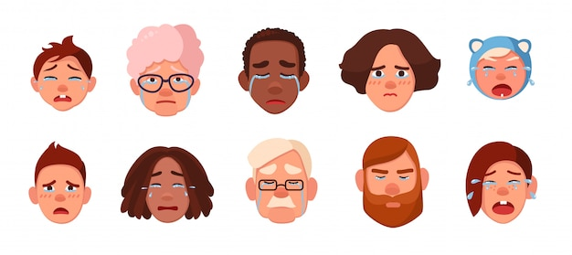Set of faces crying person. different sad people, children, young, adults, old collection. colorful illustration in cartoon style. Premium Vector