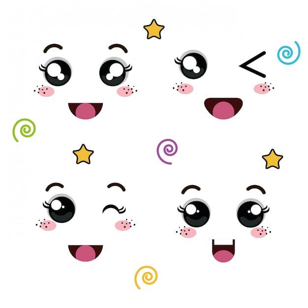 Set of faces of emoticon Premium Vector