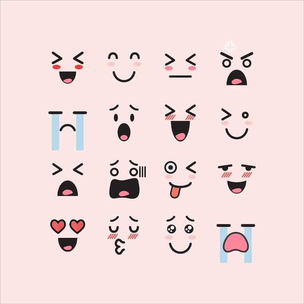 Set of facial emoticons Premium Vector