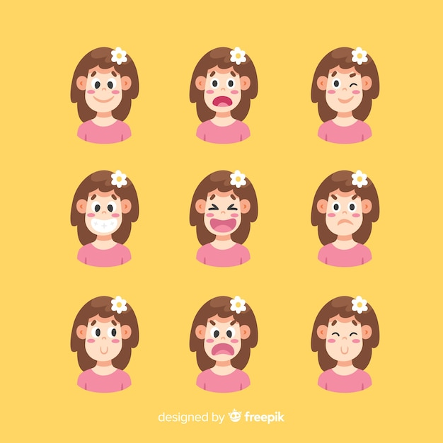 Set of facial expression of different emotions Free Vector