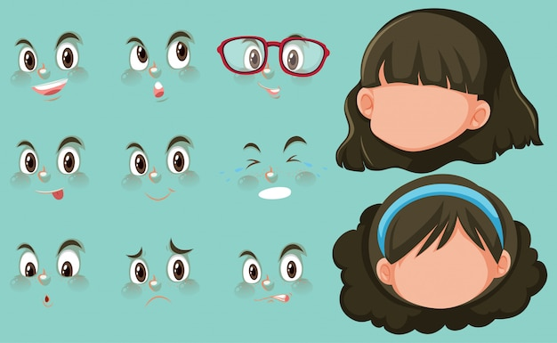 Set of facial expressions and two heads of girl Premium Vector