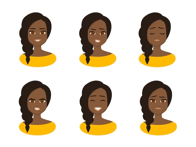Set facial expressions of young african business woman wearing yellow costume. Premium Vector