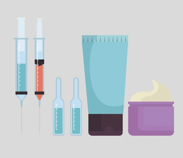 Set of facial products and injections Free Vector