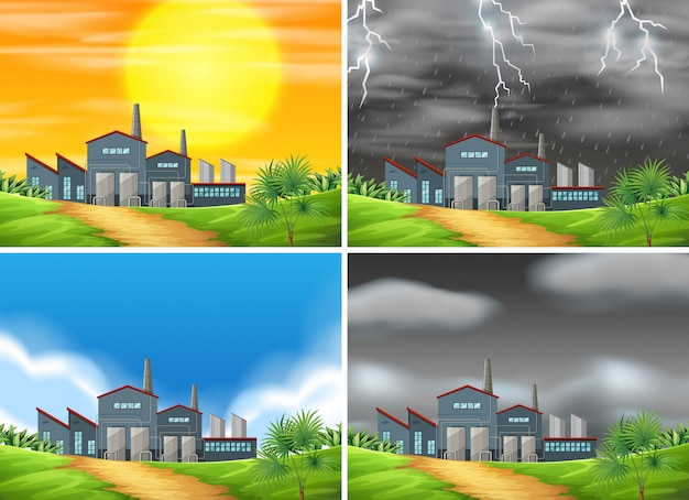 Set of factory in different weather Free Vector