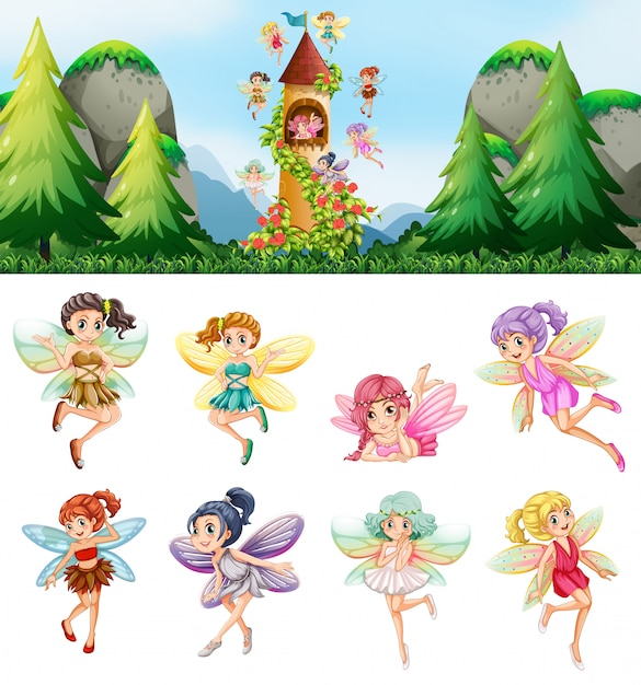 Set of fairies in nature Free Vector