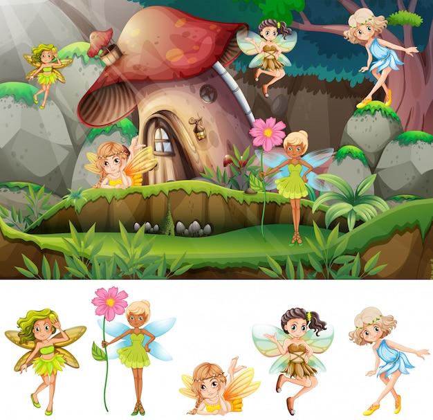 Set of fairies in scene illustration Free Vector