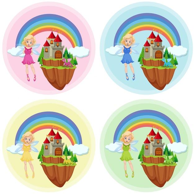 Set of fairy at castle Premium Vector