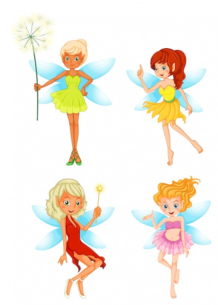 Set of fairy character Free Vector