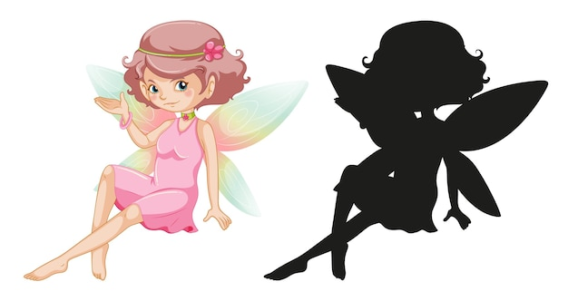 Set of fairy characters and its silhouette on white background Free Vector