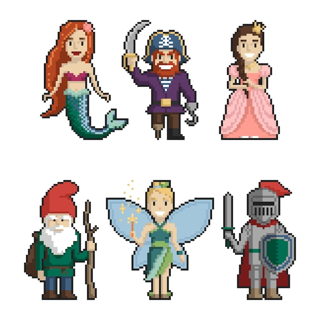 Set Of Fairy Tale Characters Pixel Art On White Background