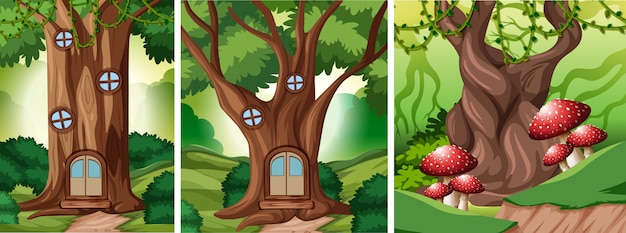 Set of fairy tale forest background Free Vector