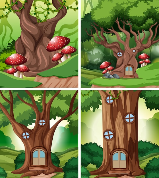 Set of fairy tale house in forest Free Vector
