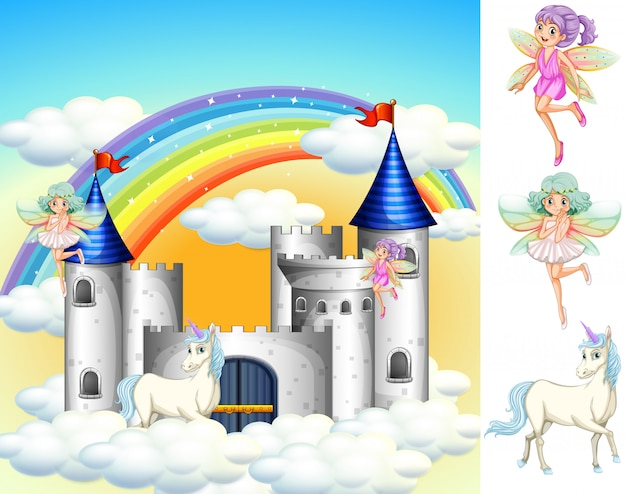 Set of fairy tale land Free Vector