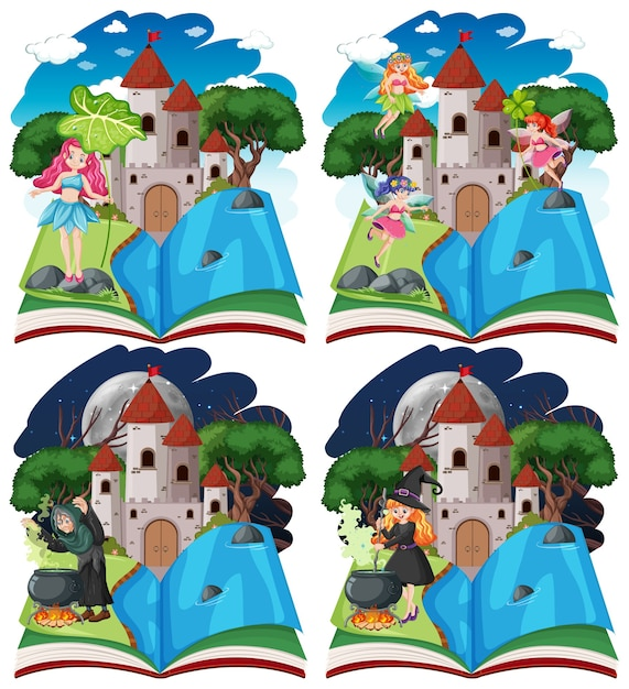 Set of fairy tales and castle tower on pop up book cartoon style on white background Free Vector