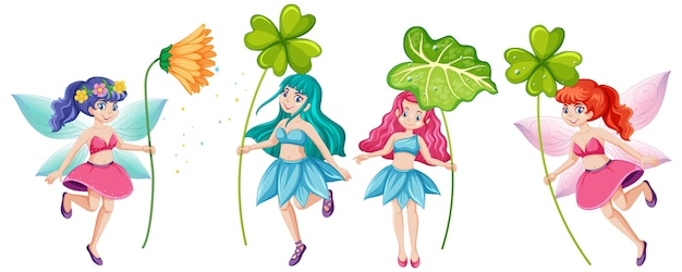 Set of fairy tales holding flower cartoon character on white background Free Vector