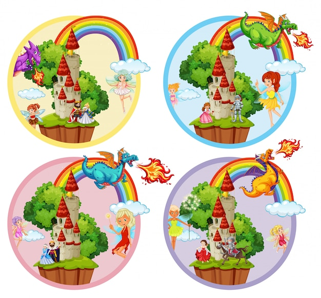 Set of fairytale badge Premium Vector