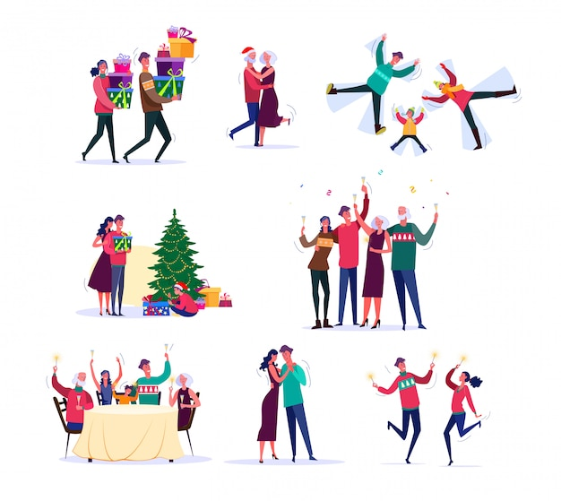Set of families celebrating new year Free Vector