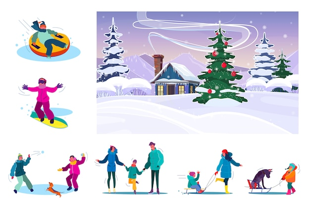 Set of family resting during snowy winter Free Vector