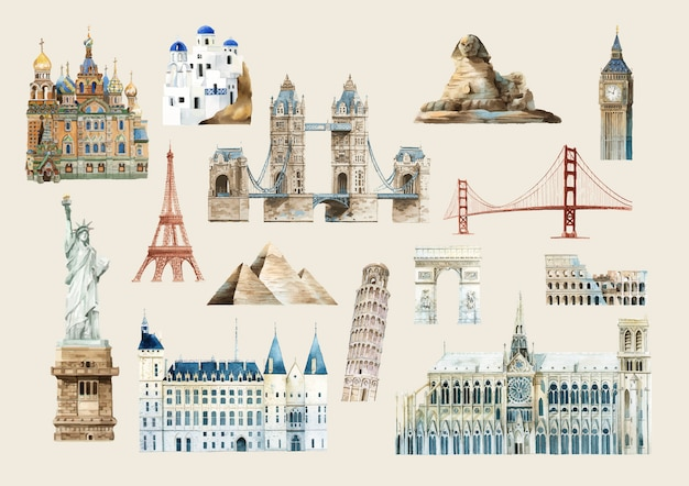 Set of famous landmark vectors Free Vector