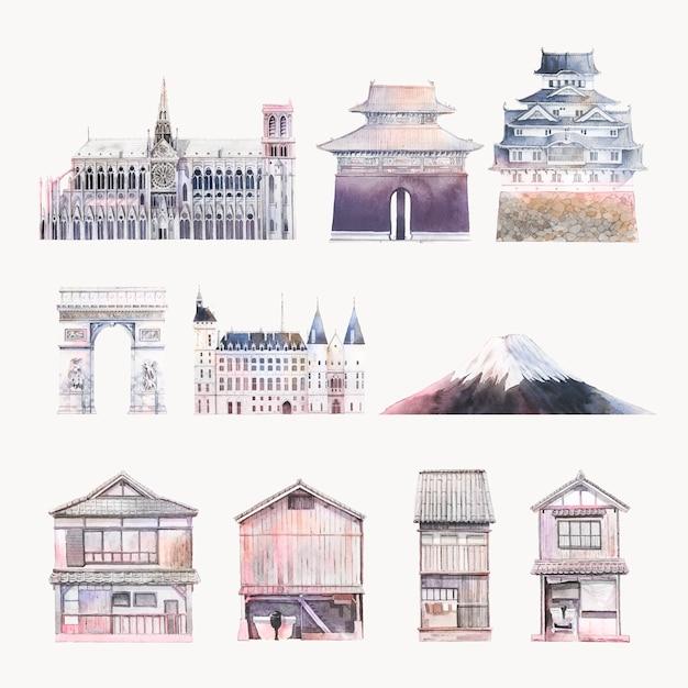 Set of famous landmark vectors Free Vector