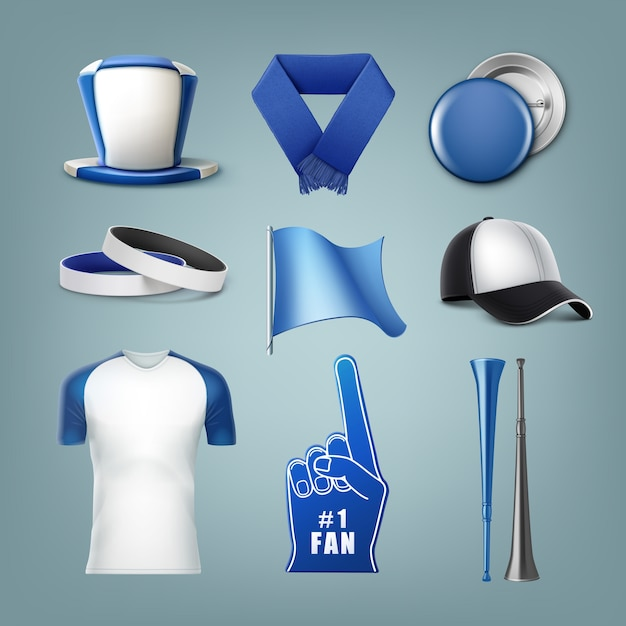 Set di accessori per ventilatori nei colori bianco e blu Vettore gratuito