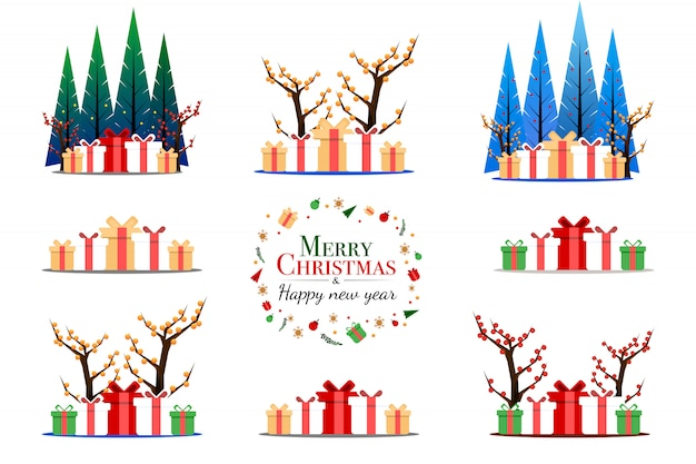 Set of fantasy gift and pine tree in christmas festival concept Premium Vector