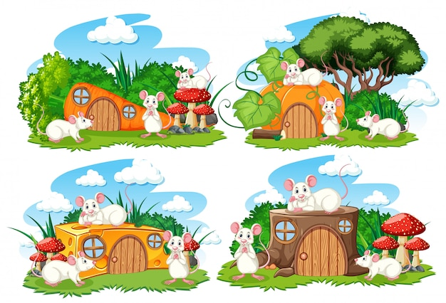 Set of fantasy houses in the garden with cute animals isolated on white background Free Vector