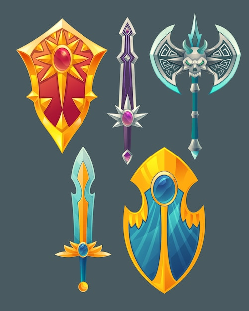 Set of fantasy items, fairy tale game design objects isolated on grey background Free Vector