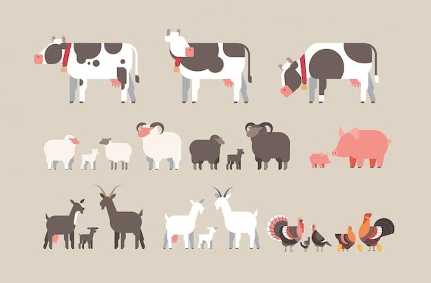 Набор ферма животное корова коза свинья индейка овца курица значки разные домашние животные коллекция сельское хозяйство Premium векторы