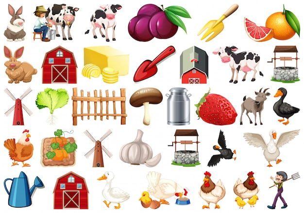 Set of farm elemant Free Vector