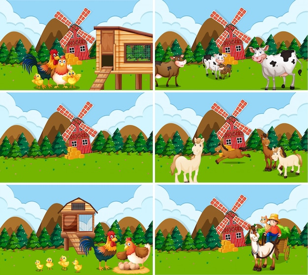 Set of farm scenes withs Free Vector
