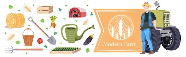 Набор сельскохозяйственных инструментов садовое оборудование и фермер возле трактора органическое эко сельское хозяйство концепция сельского хозяйства Premium векторы