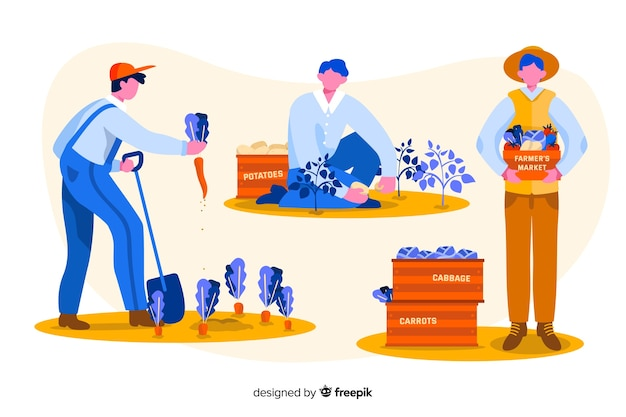 Set of farm workers illustrated Free Vector