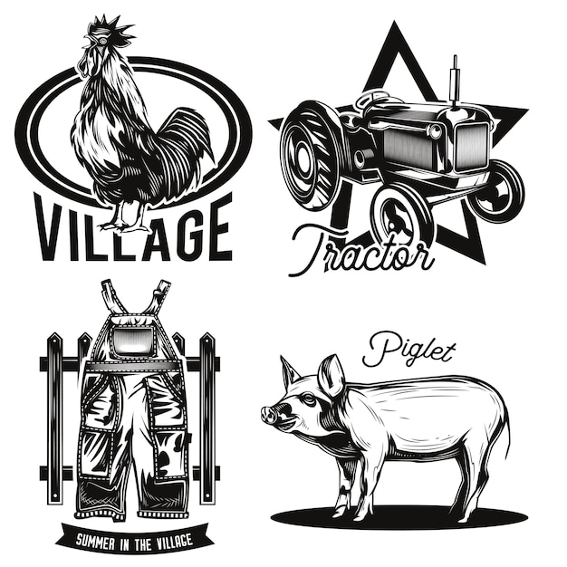 Set of farming emblems Free Vector