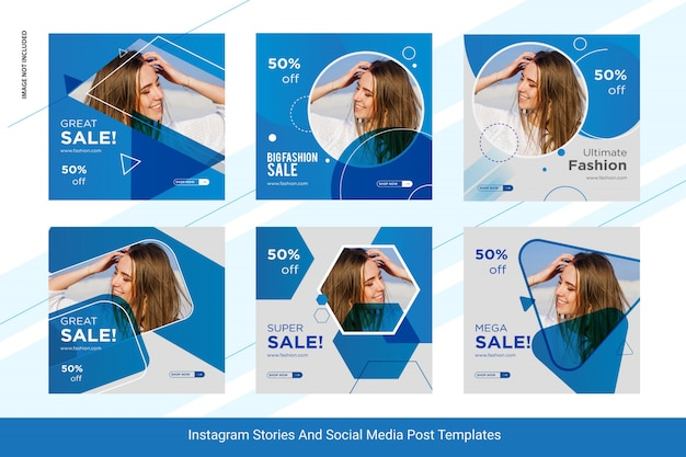 Set of fashion-insta post social media post template design Premium Vector