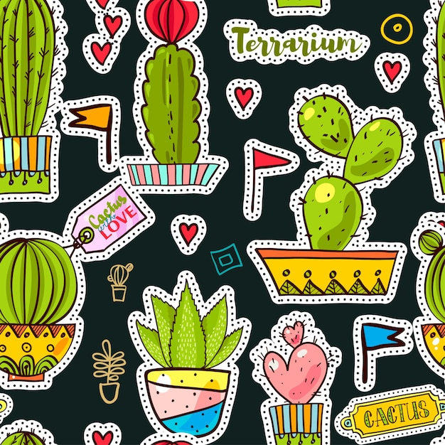 Set fashion patches, brooches with cacti Premium Vector
