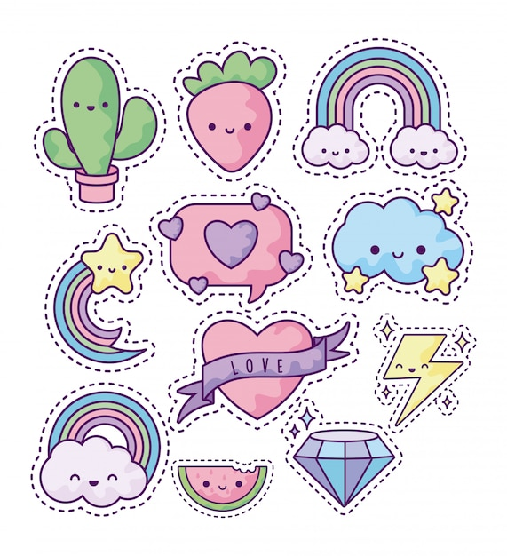 Set of fashion patches Premium Vector
