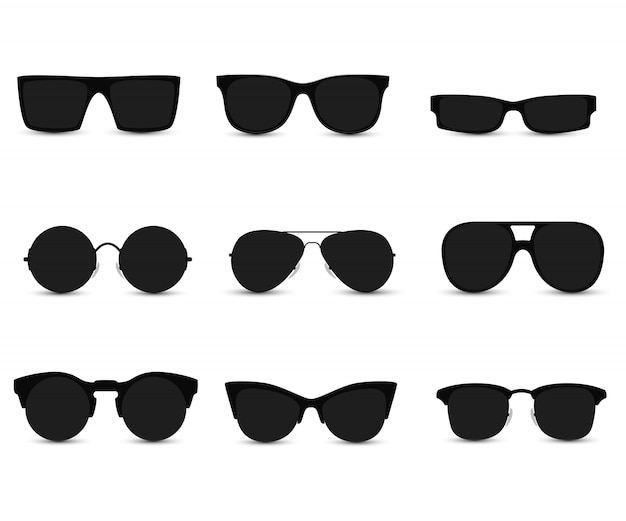 Set of fashionable sunglasses Premium Vector