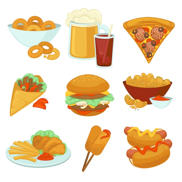 Set of fast food meals. Premium Vector