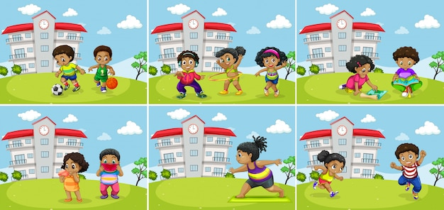 Set of fat kids exercise Free Vector