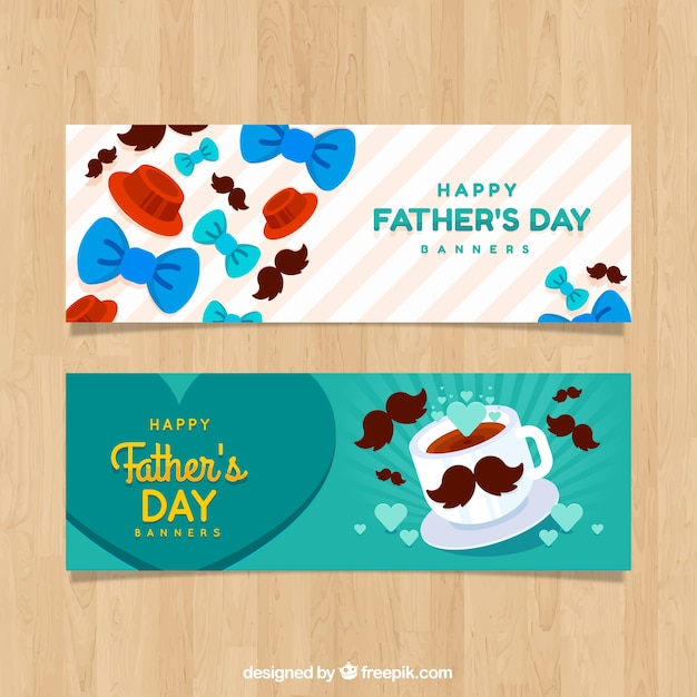 Set di banner festa del papà con papillon Vettore gratuito