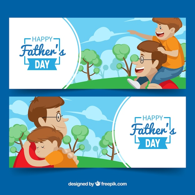 Set of father's day banners with happy family Free Vector
