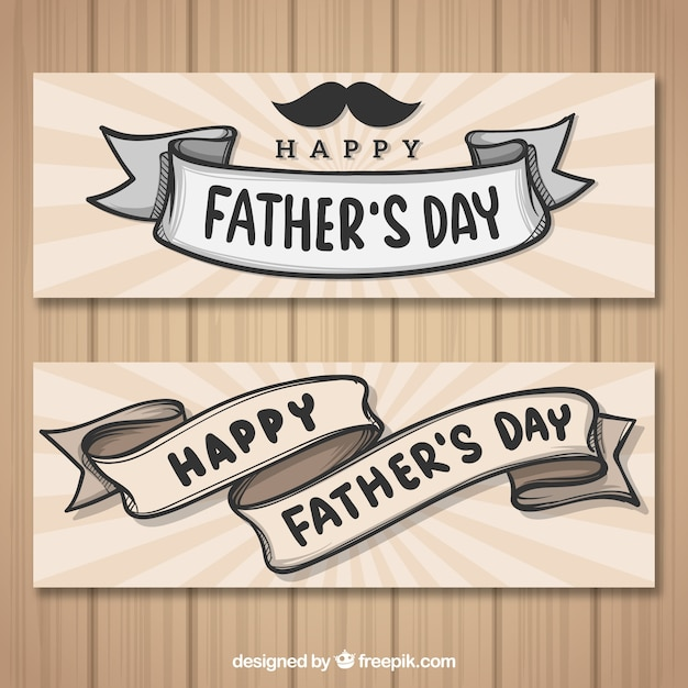 Set of father's day banners with ribbons Free Vector