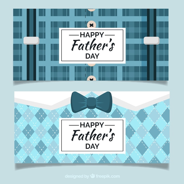 Set of father's day banners  with suit pattern Free Vector