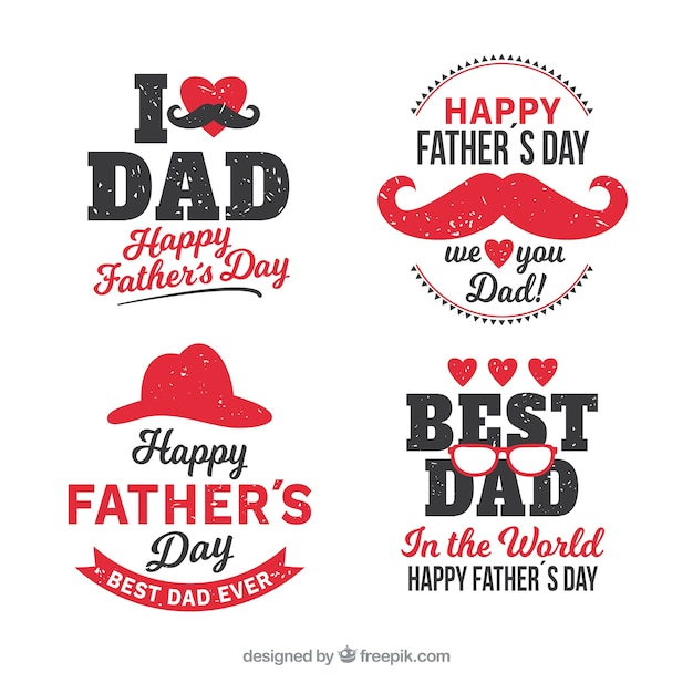 Set of father's day labels with different elements Free Vector