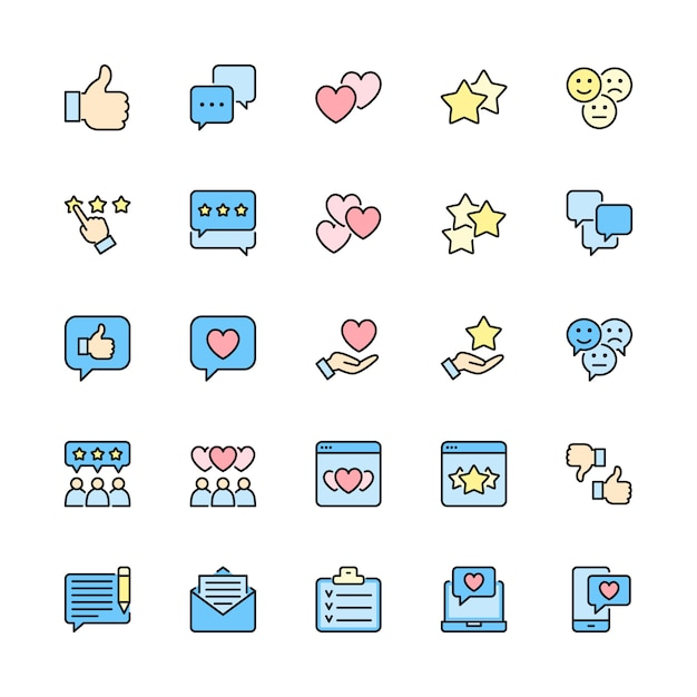 Set of feedback flat color line icons. thumb up, like, dislike, hearts and more. Premium Vector