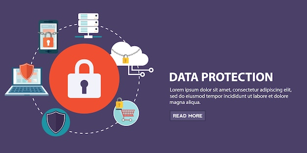 Set of felements of data protection Premium Vector