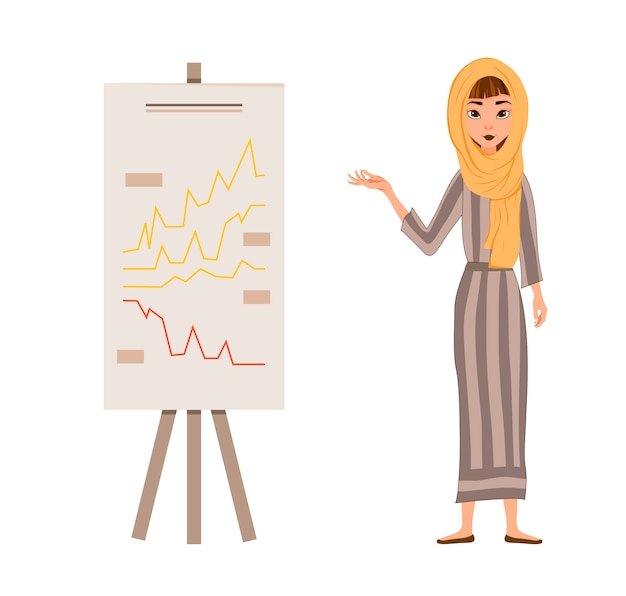 Set of female characters. girl points hand to the schedule. vector illustration. Premium Vector